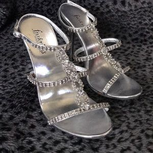 Frederick's of Hollywood Silver Bling Heels